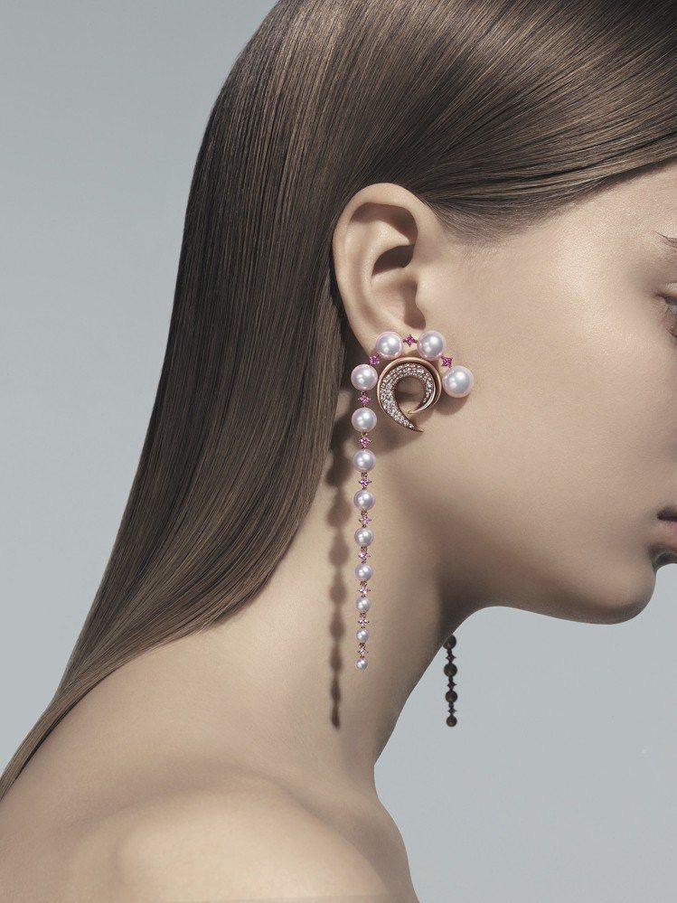 TASAKI Atelier Cove系列,櫻花金鑲嵌阿古屋珍珠、粉紅剛玉和鑽石...