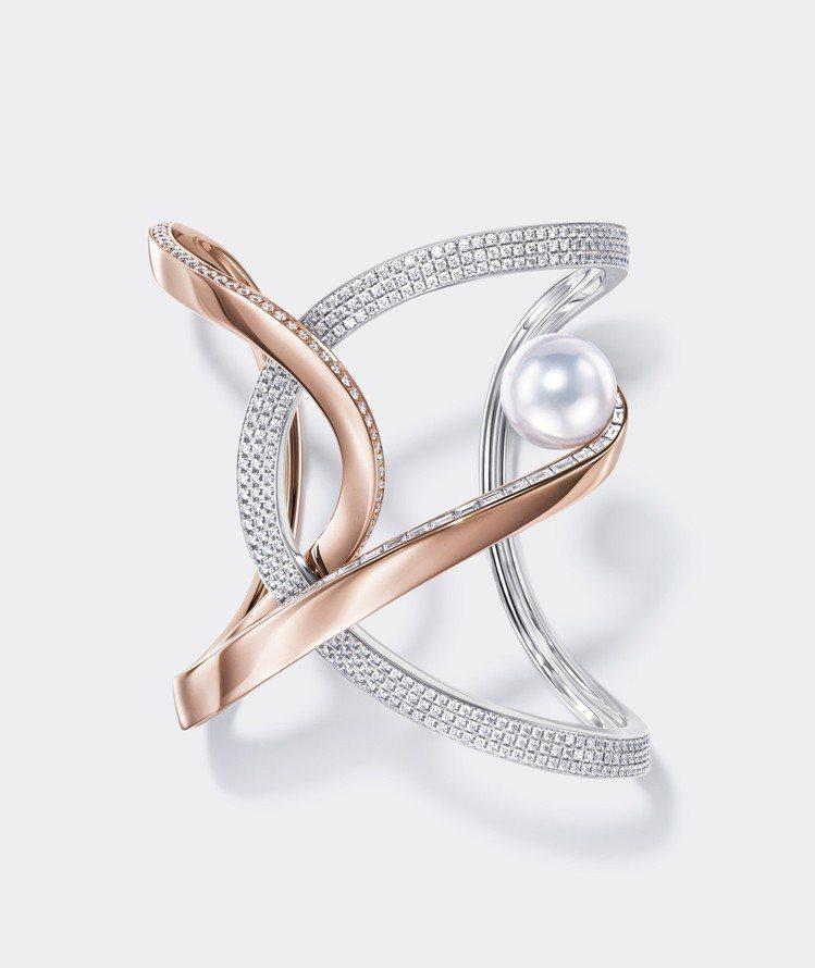 TASAKI Atelier Aurora 南洋珍珠櫻花金鑲鑽手環。圖/TASA...