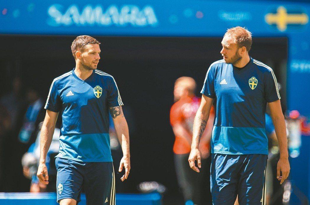 瑞典隊長格蘭奎費斯特(右)不擔心對上英格蘭。 (歐新社)