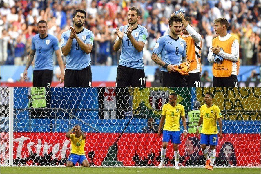 烏拉圭(上)與巴西(下)止步8強,代表世足四強賽史上首次沒有兩冠球隊! 美聯社