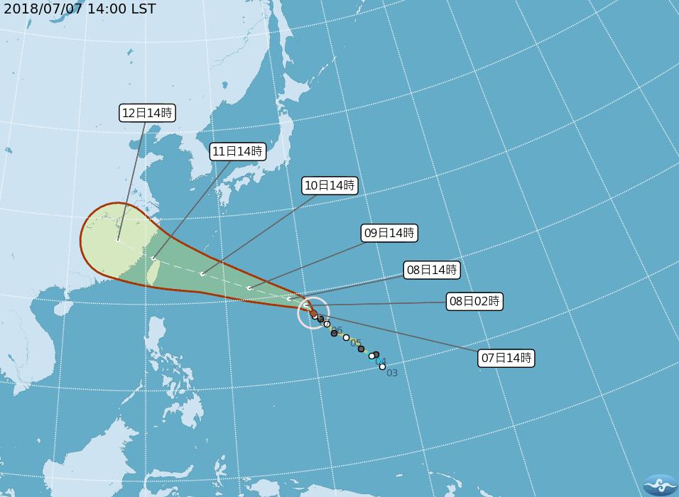 強颱瑪莉亞逼近台灣。 圖/擷取自中央氣象局網站