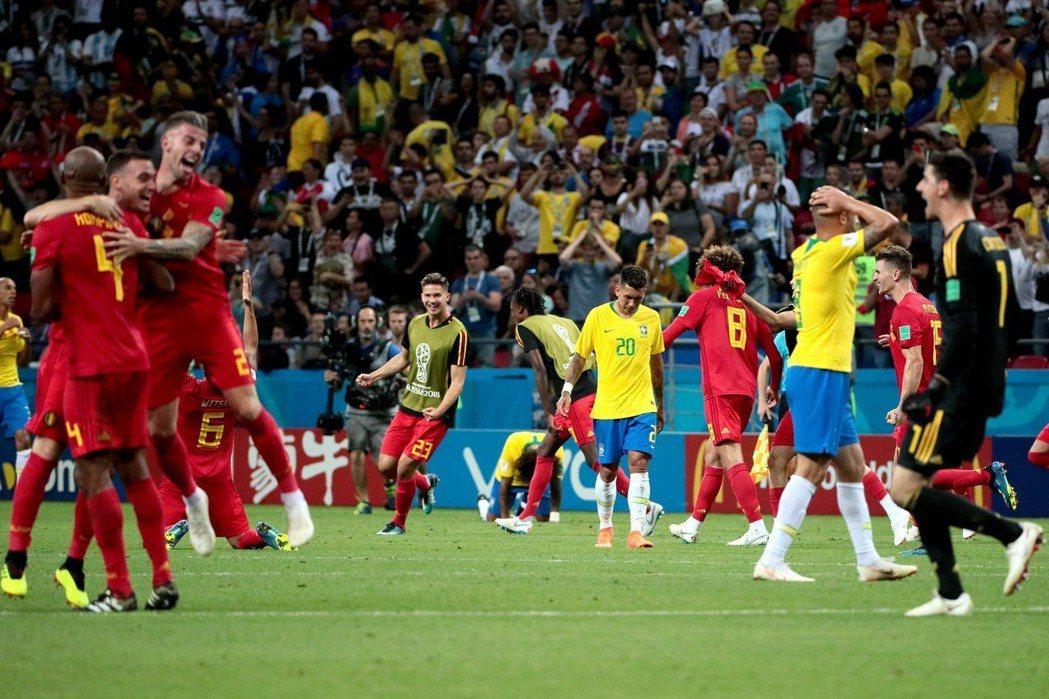 比利時與巴西踢出一場高水準攻防戰,可惜終有一隊要成為輸家。 美聯社
