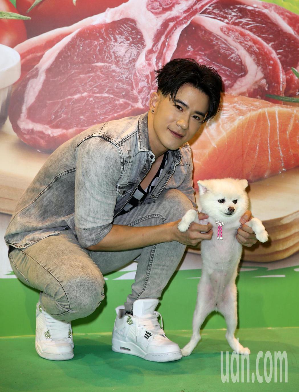 JR紀言愷下午到台北寵物用品展擔任一日店長。記者曾吉松/攝影