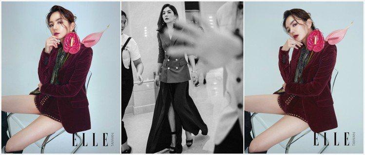 Ella在《ELLE》國際中文版中穿上Saint Laurent西裝外套,也曾在...
