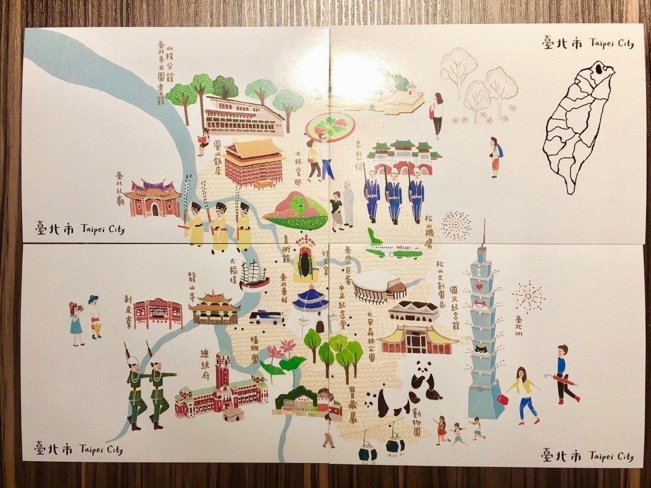 書車也會發送4款「台灣地圖」繪本台北篇的明信片作為紀念品,可拼成台北地圖,每兩周...