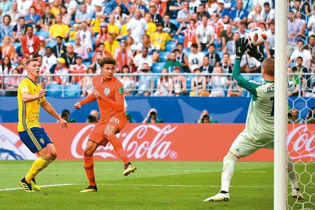 俄羅斯世界盃足球賽八強賽,英格蘭靠著兩個頭錘進球,二比○擊敗瑞典。圖為英格蘭阿里...