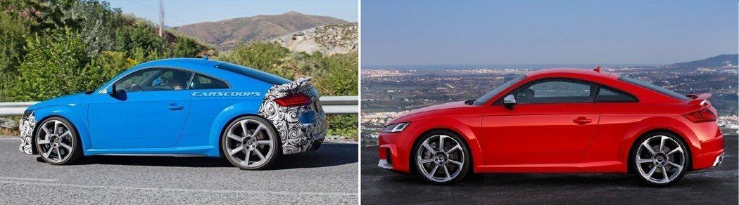 小改款(左)更換了新樣式的側裙,更具性能跑格。 摘自carscoops、Audi