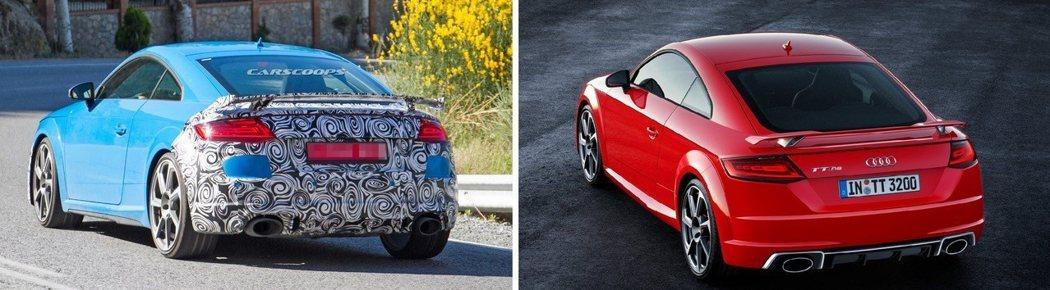 小改款(左)的固定式尾翼更換為更大Size的版本。 摘自carscoops、Audi