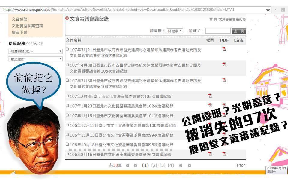 台北市文化局官網上從2015年10月15日台北市開放文資審議旁聽與會議紀錄公開後...