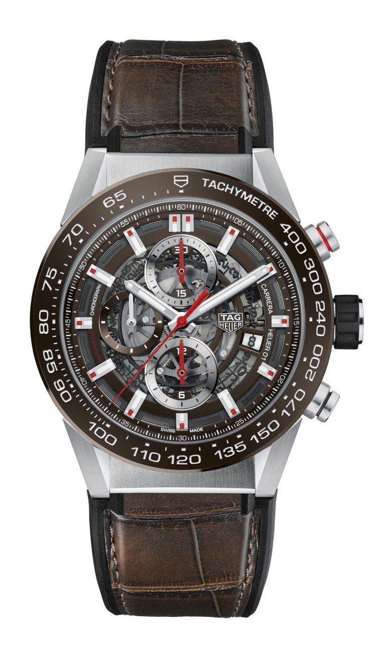 泰格豪雅Carrera Heuer-01計時碼表,搭配干邑棕鱷魚皮表帶,約17萬...