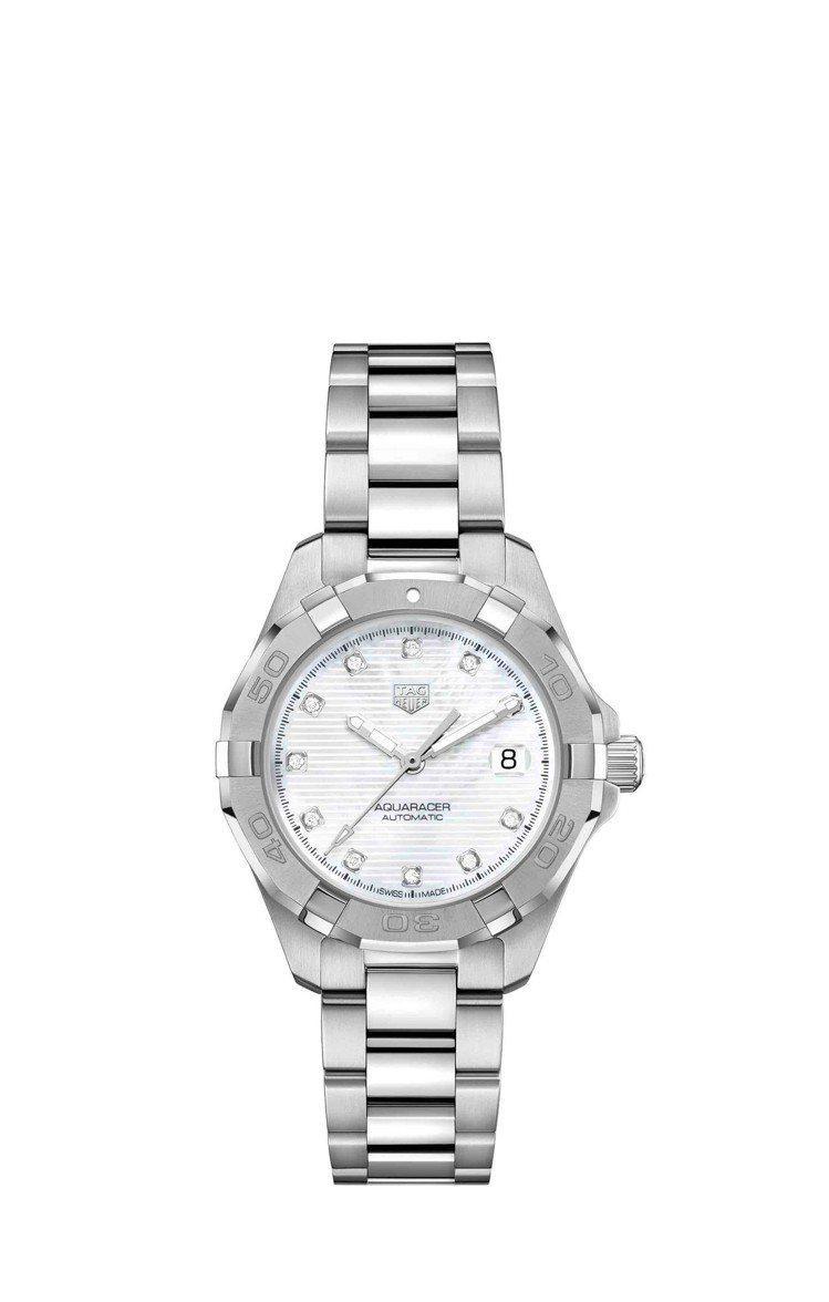 泰格豪雅Aquaracer Lady腕表,白色表面搭配鑲鑽時標,約82,400元...