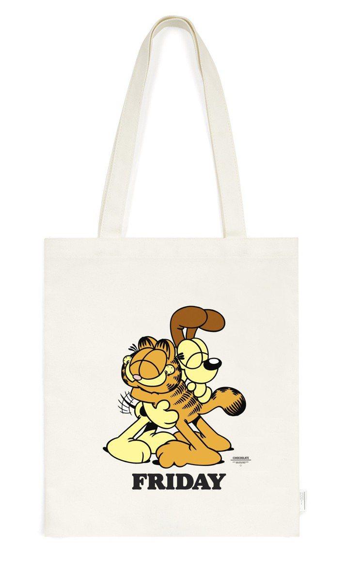 :CHOCOOLATE與經典卡通加菲貓推出聯名購物袋,約1,099元。圖/I.T...
