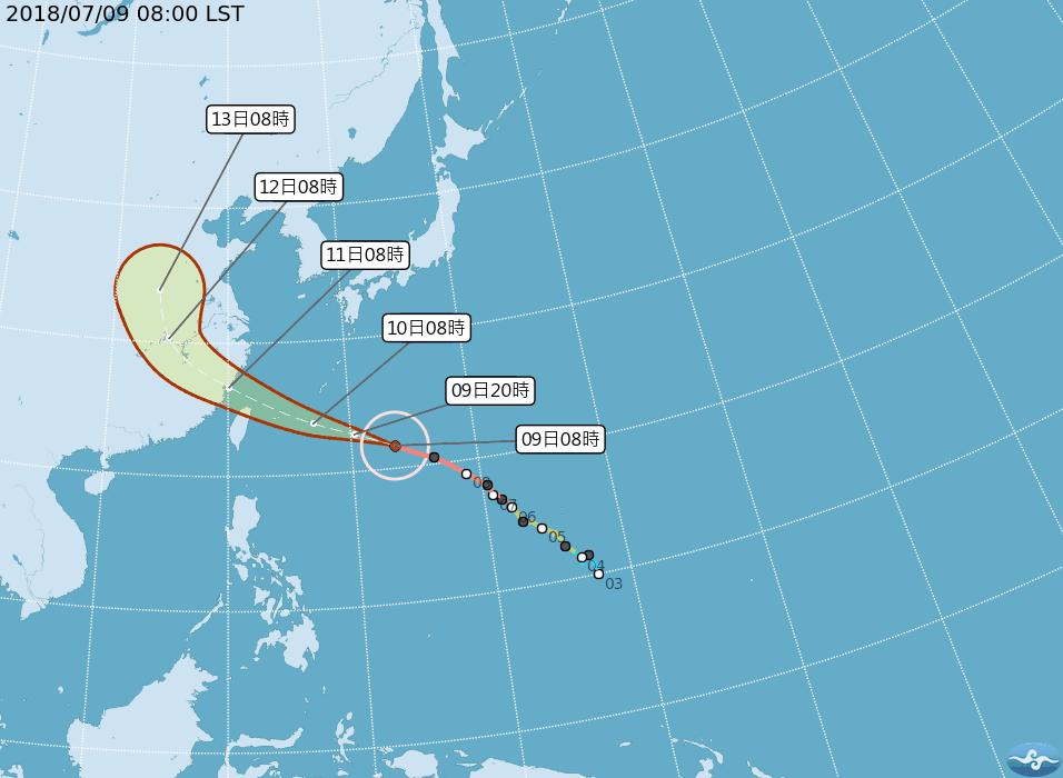 中央氣象局下午2時30分針對北部、東北部及東南部海面發布海上颱風警報。 圖/中央...