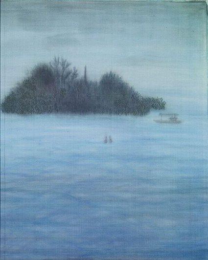 林莉酈作品《西湖孤島》,2013,絹本膠彩。 人文遠雄博物館/提供