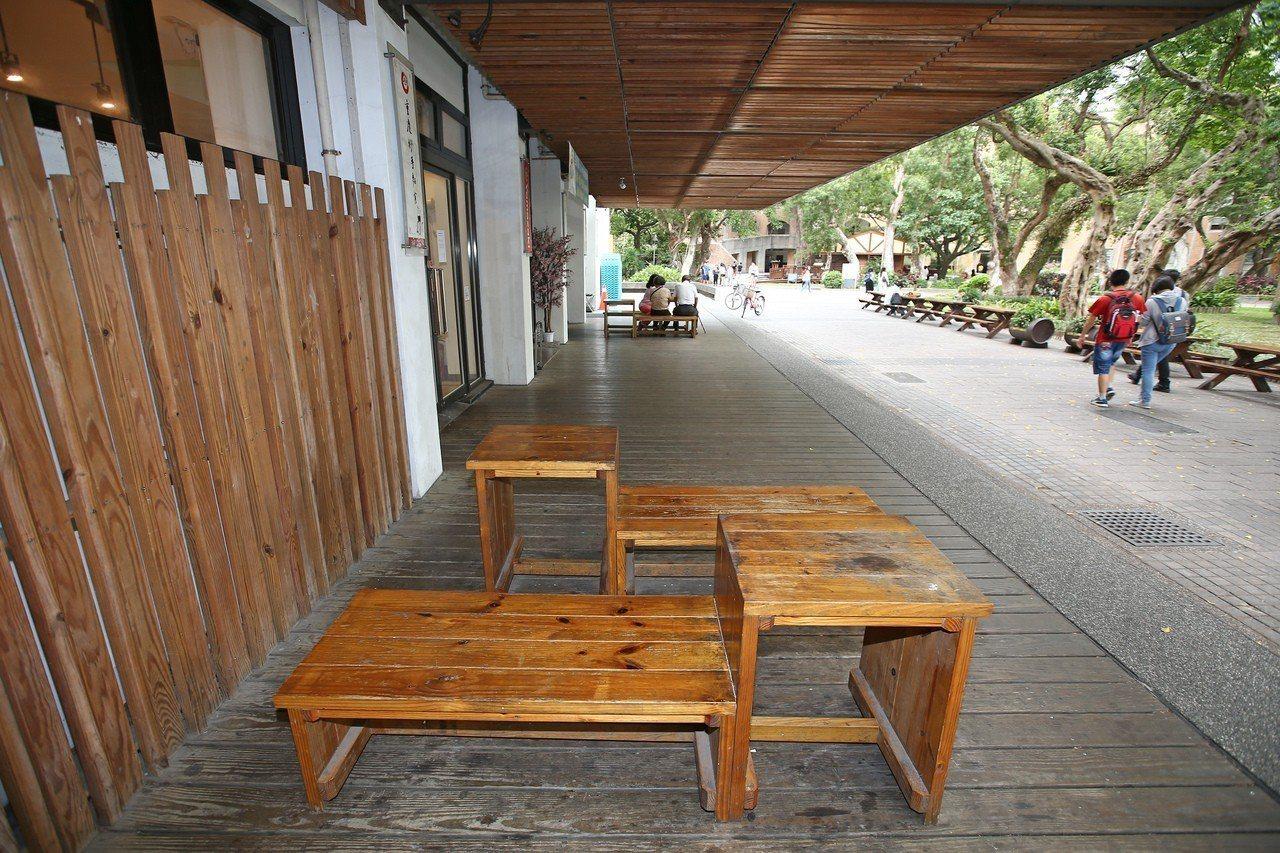 鹿鳴堂側邊店面與迴廊是學生們休憩的地方。圖╱聯合報系資料照片