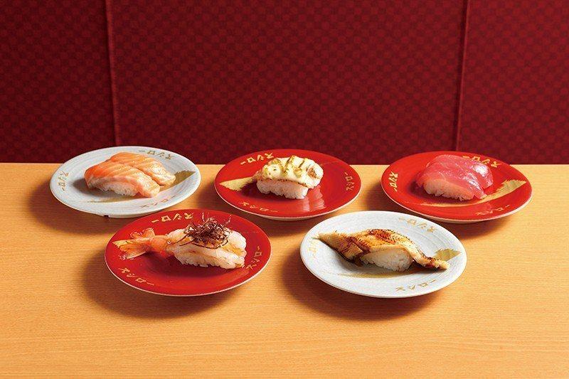 炙燒上等星鰻握壽司60元(右)、麻辣赤蝦握壽司40元(左)、大切生鮭魚握壽司60...