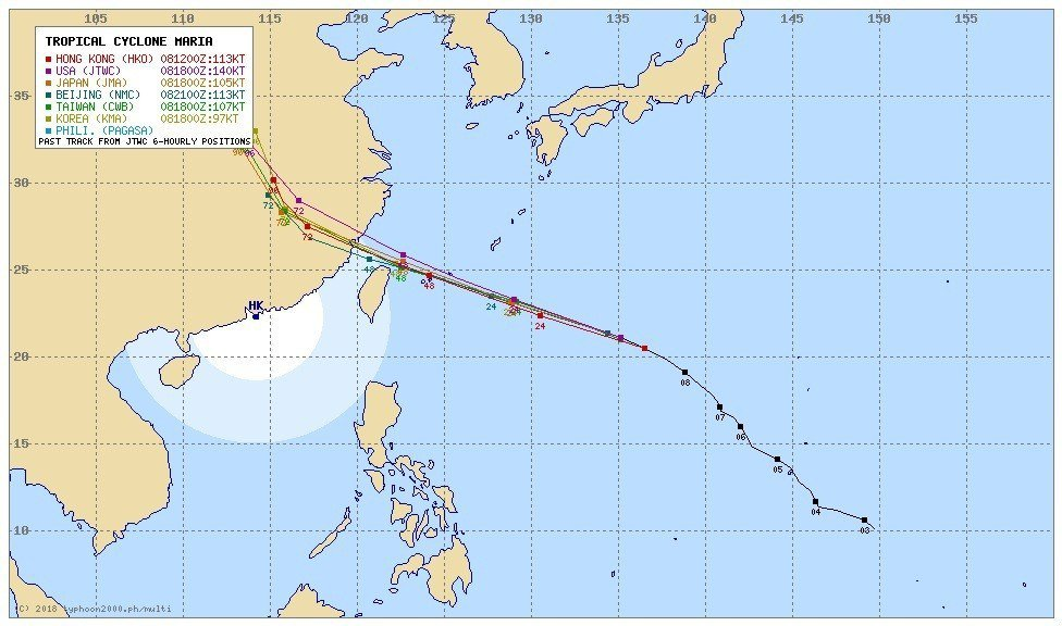 強烈颱風瑪莉亞快速朝台灣逼近,各國預測都很一致,台灣應該躲不掉。摘自typhoo...