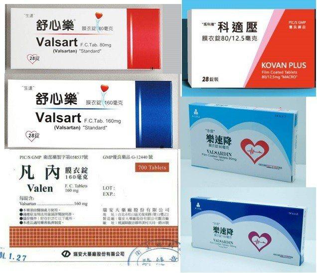 6款受波及降血壓藥,分別是生達化學製藥的舒心樂膜衣錠160毫克及80毫克,瑪科隆...