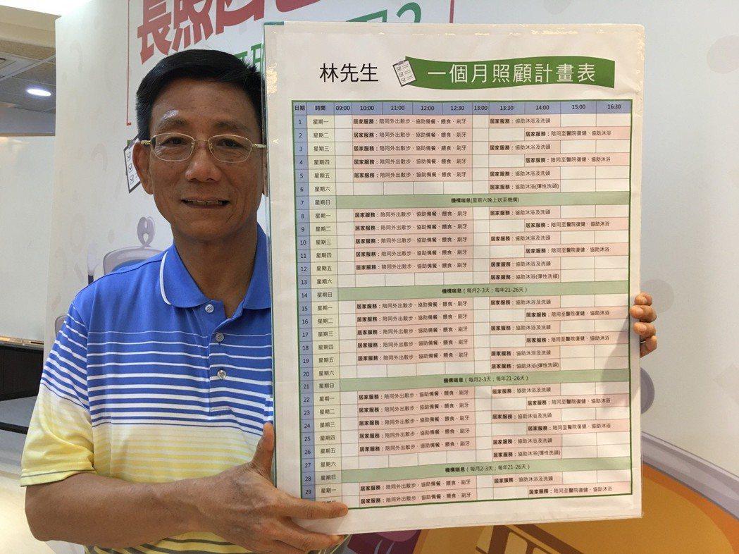 65歲林立成照顧62歲的失能失智太太10年,自訂「一個月照顧計畫表」,在2名提供...
