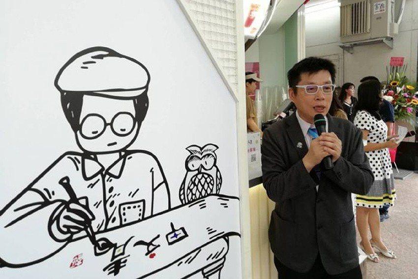 董事長王朝藝說明「甲文青」手搖茶飲品牌的由來。 甲文青茶飲/提供