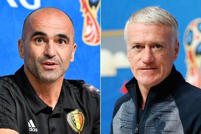 比利時總教練馬丁尼茲(左)和法國總教練德尚(右)在四強賽對決不但要比戰術,還要看...