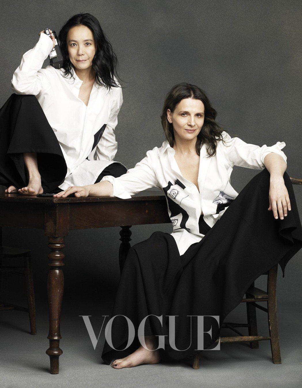 白襯衫、黑色寬褲(Yohji Yamamoto)