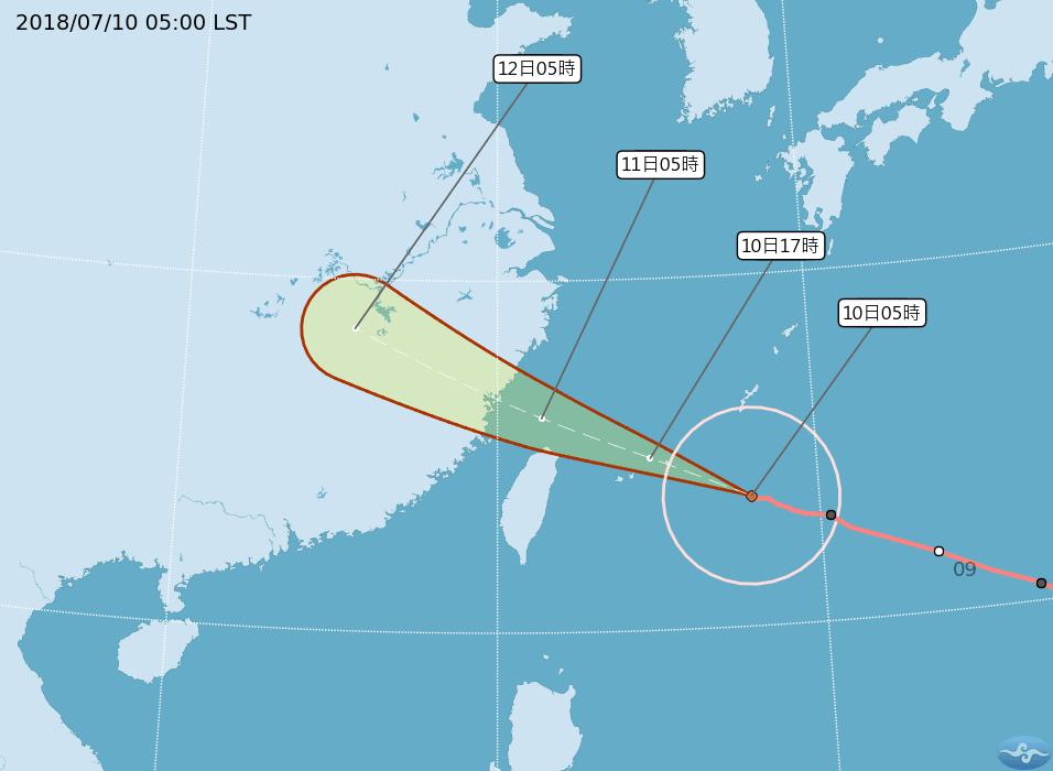 強颱瑪莉亞今天將逐漸逼近台灣。 圖/擷取自中央氣象局網站