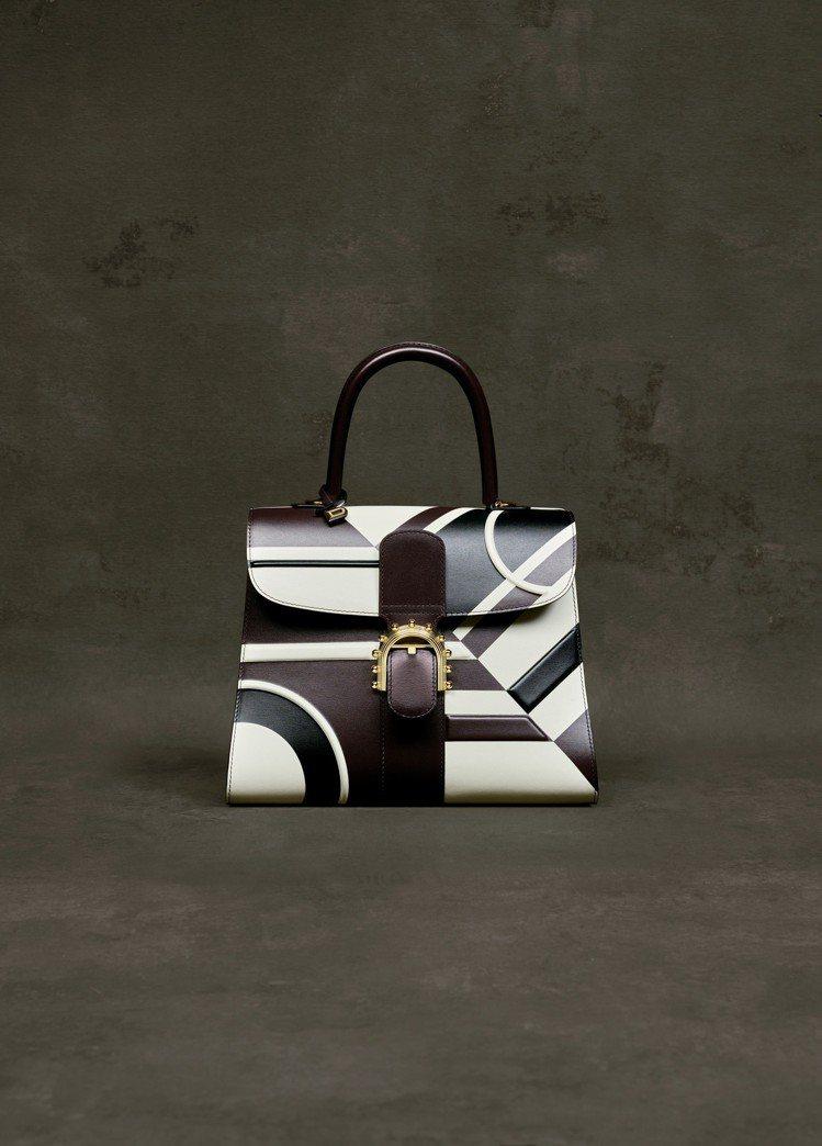 Brillant黑白圖騰牛皮中型肩背包,售價24萬5,100元。圖/DELVAU...