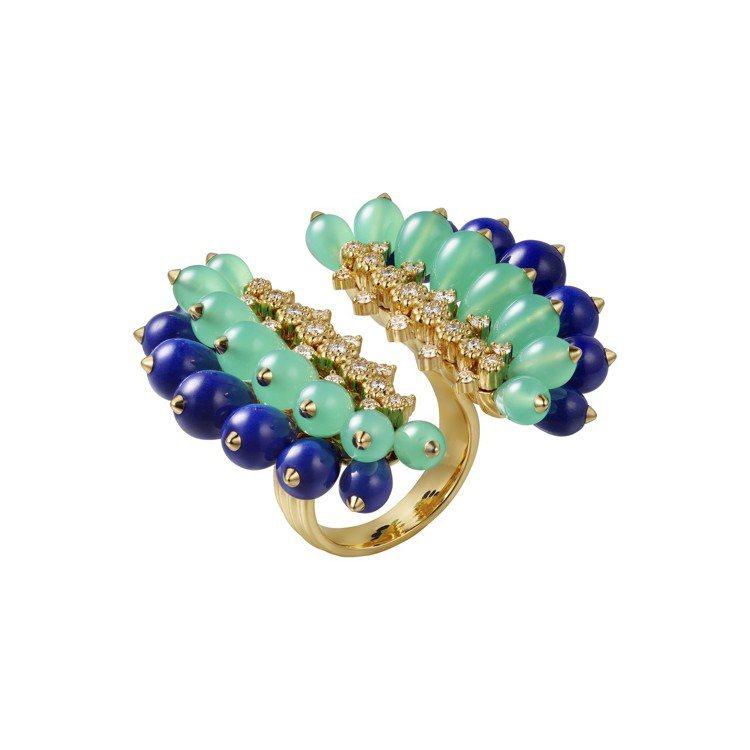 Cactus de Cartier青金石與綠玉髓指間戒,18K黄金鑲嵌青金石、綠...