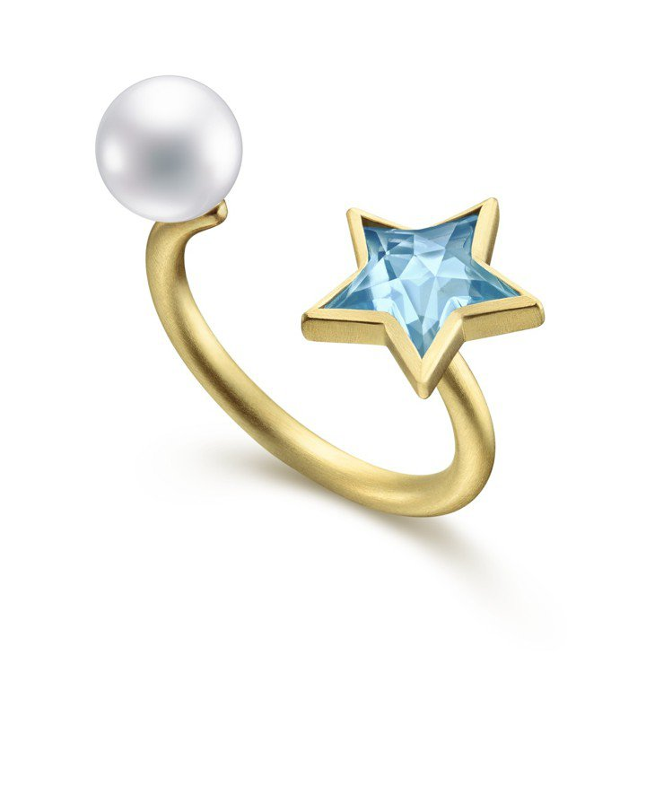 TASAKI by MHT inseparable star 藍色拓帕石珍珠戒指...