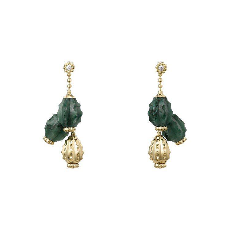 Cactus de Cartier砂金石耳環,18K黃金鑲嵌砂金石、鑽石,約36...