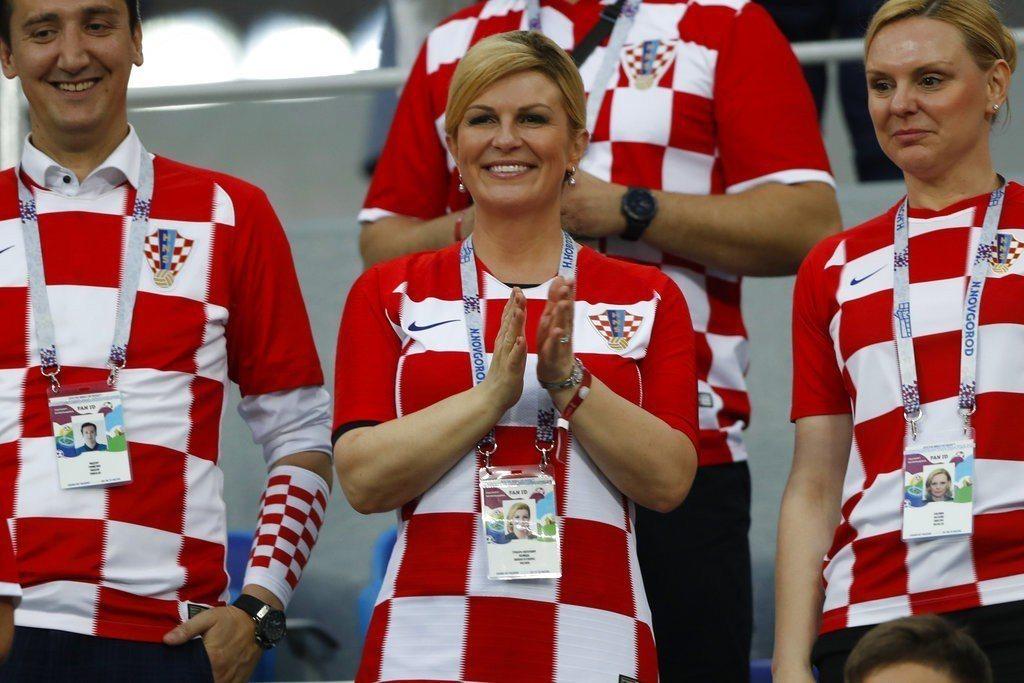 克羅埃西亞女總統科琳達8強戰曾在現場觀戰,成為場外焦點。 美聯社