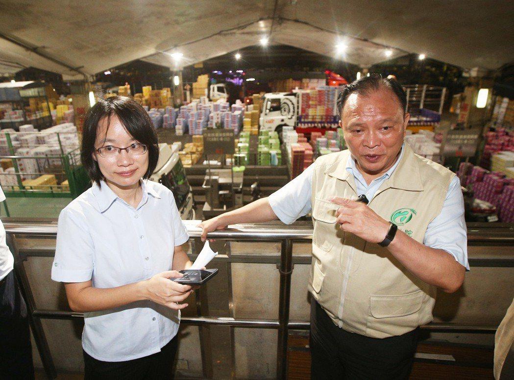 颱風瑪莉亞侵台,農委會主委林聰賢(右)與台北農產運銷公司總經理吳音寧(左)前往台...