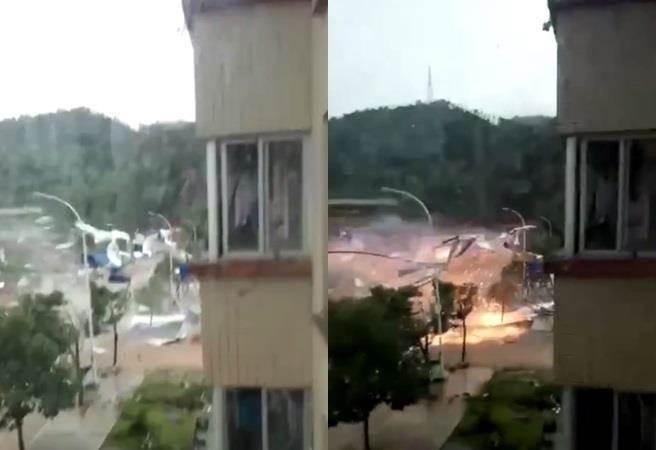 福建市區的路燈被強風吹斷當場爆炸,火花飛濺,畫面怵目驚心。圖/取自微博