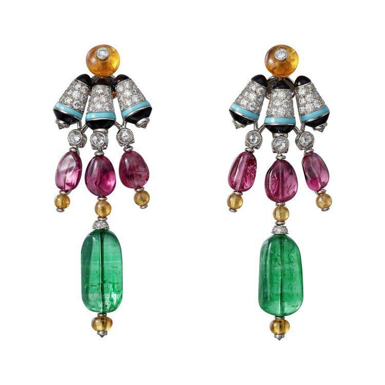 匈牙利靈感的CHROMAPHONIA 耳環,白金鑲嵌兩個不規則形切割阿富汗祖母綠...