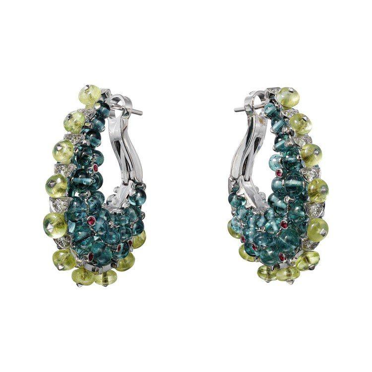 印度五彩節為靈感的HOLIKA 耳環,白 K 金鑲嵌藍色碧璽圓珠、金綠玉圓珠、凸...