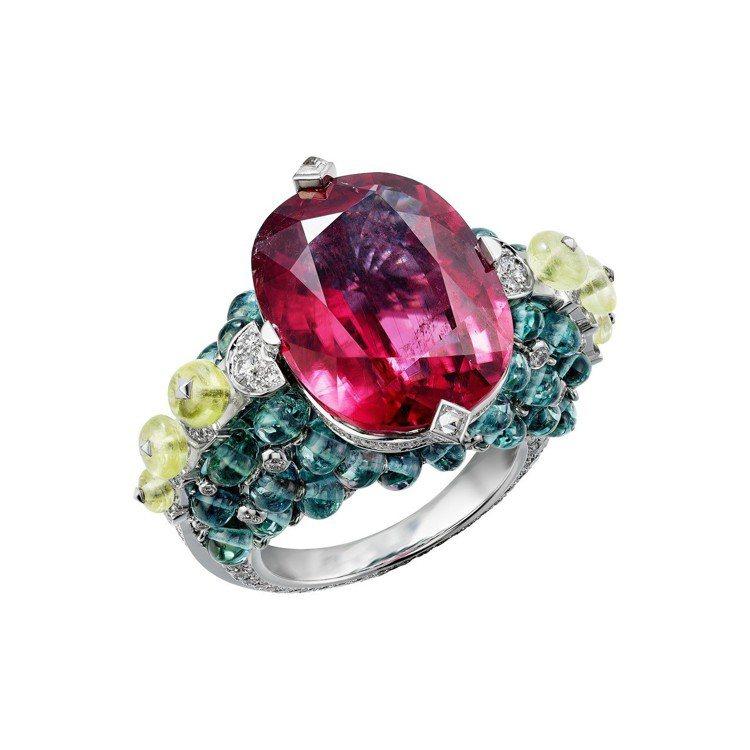 印度五彩節為靈感的HOLIKA 戒指,白 K 金鑲嵌一顆重 15.05 克拉的枕...