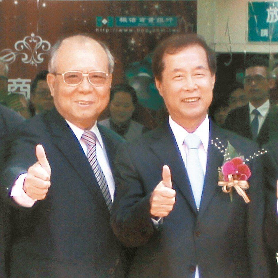 板信商銀總經理高明賢(左)、董事長劉炳輝於木柵分行喬遷開業合影。 板信銀/提供