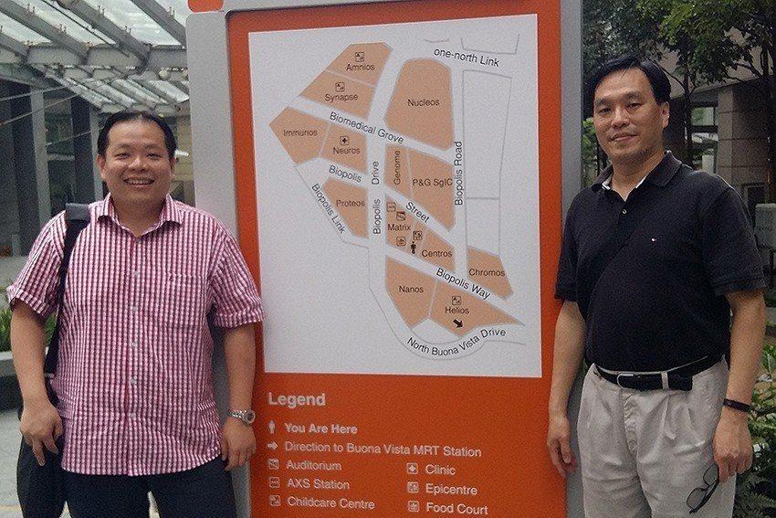王永樑副教授(右)與Dr.Justin Chu副教授赴新加坡生醫園區(Biopo...