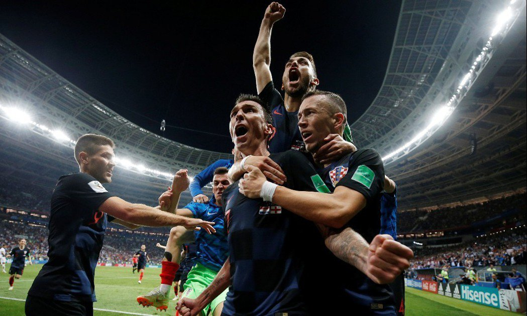 克羅埃西亞在延長賽以2:1擊敗英格蘭,將與法國爭冠。 路透社