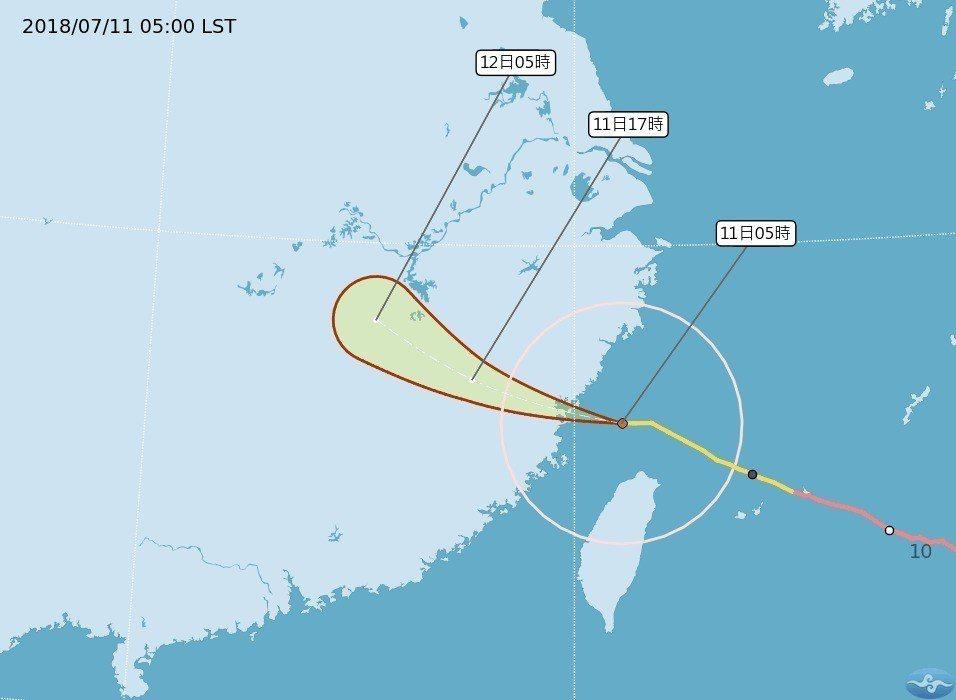 台灣本島11日上午脫離瑪莉亞暴風圈,中央氣象局於上午11時30分解除本島陸警。圖...