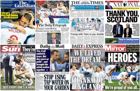 讀報雖敗猶榮:英格蘭世界盃輸球,足球這次不回家