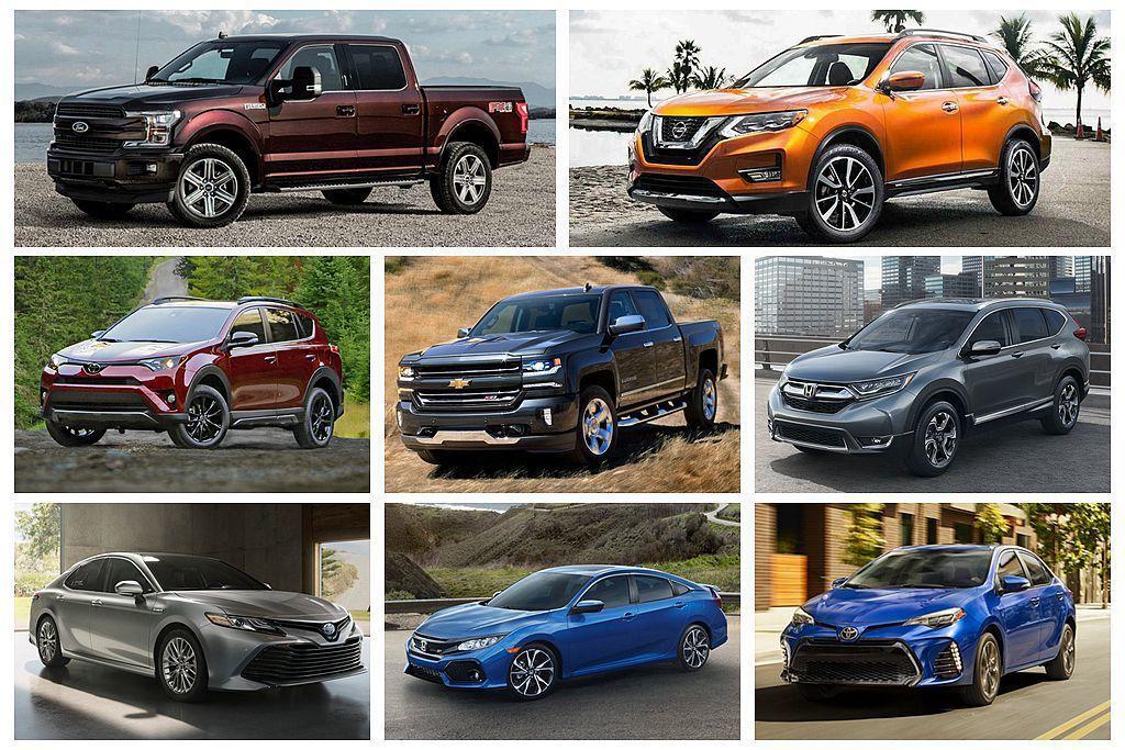 美國汽車市場上半年銷售排行出爐,縱使皮卡車銷售地位依然難以撼動,但都會休旅車款的排名卻有顯著變化。 圖/各車廠提供