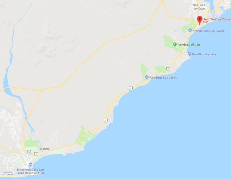 Los Cabos區域地圖,渡假村位於右上角的小城-San Jose del C...