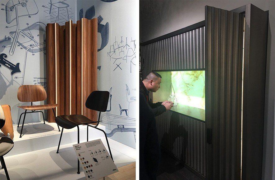 (圖)左為Herman Millerg設計的多折式屏風,右為米蘭家具展中流行的波...