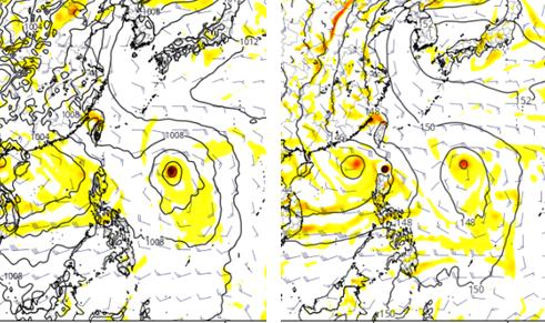 根據模擬,菲律賓東方海面及南海都有熱帶擾動發展的跡象。 圖/擷自財團法人氣象應用...