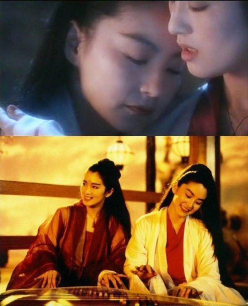 林青霞和鞏俐在「天龍八部」之「天山童姥」有曖昧的感情對手戲。pinimg.com