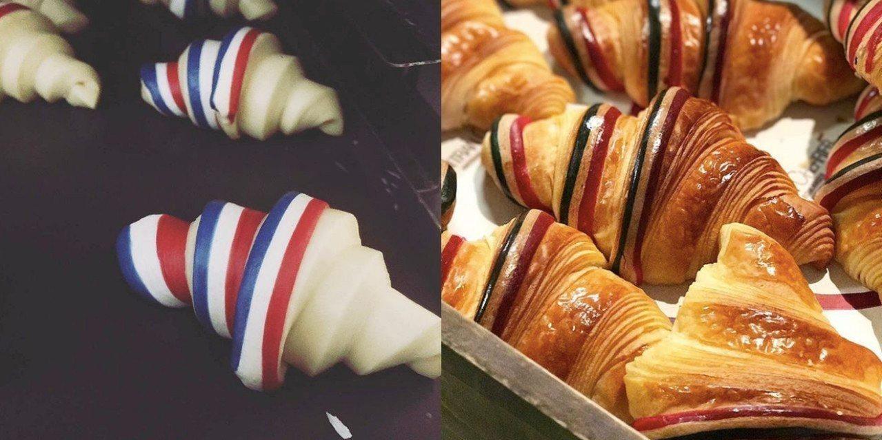 一日限定法國國旗可頌。圖擷取自Gontran Cherrier Instagra...