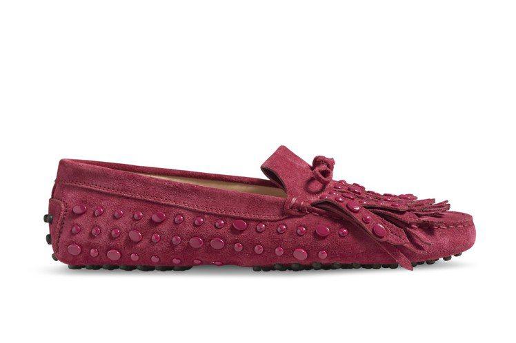TOD'S豆豆裝飾麂皮繫帶豆豆鞋,未定價。圖/迪生提供