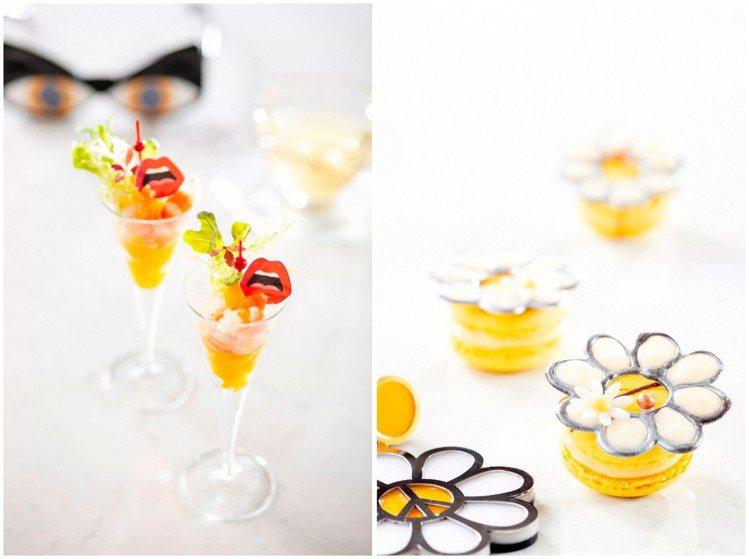 馬可波羅酒廊、Yazbukey聯名(左起)香煎干貝鮮蝦芒果沙拉杯、檸檬巧克力馬卡...